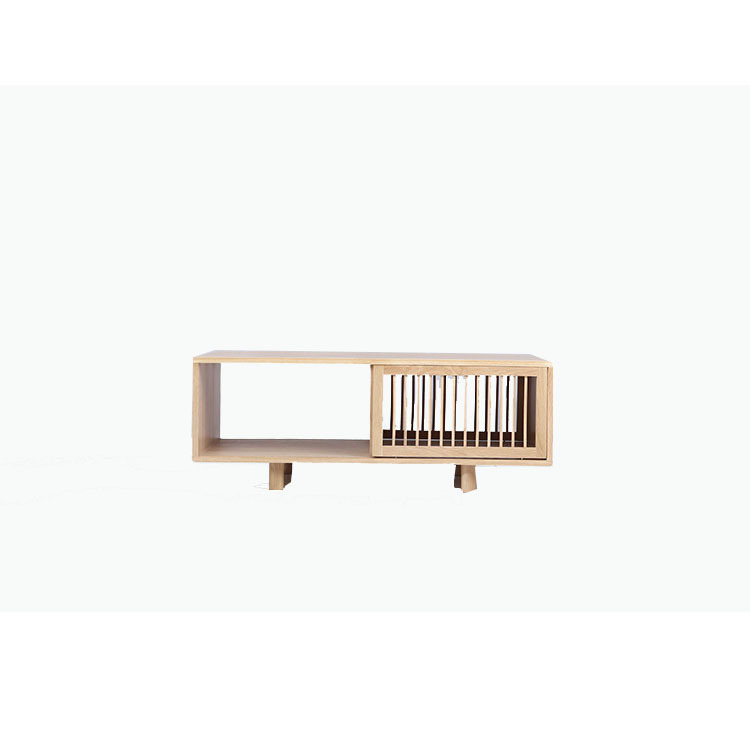 Solid Wood Coffee Table Nordic White Oak With Drawers