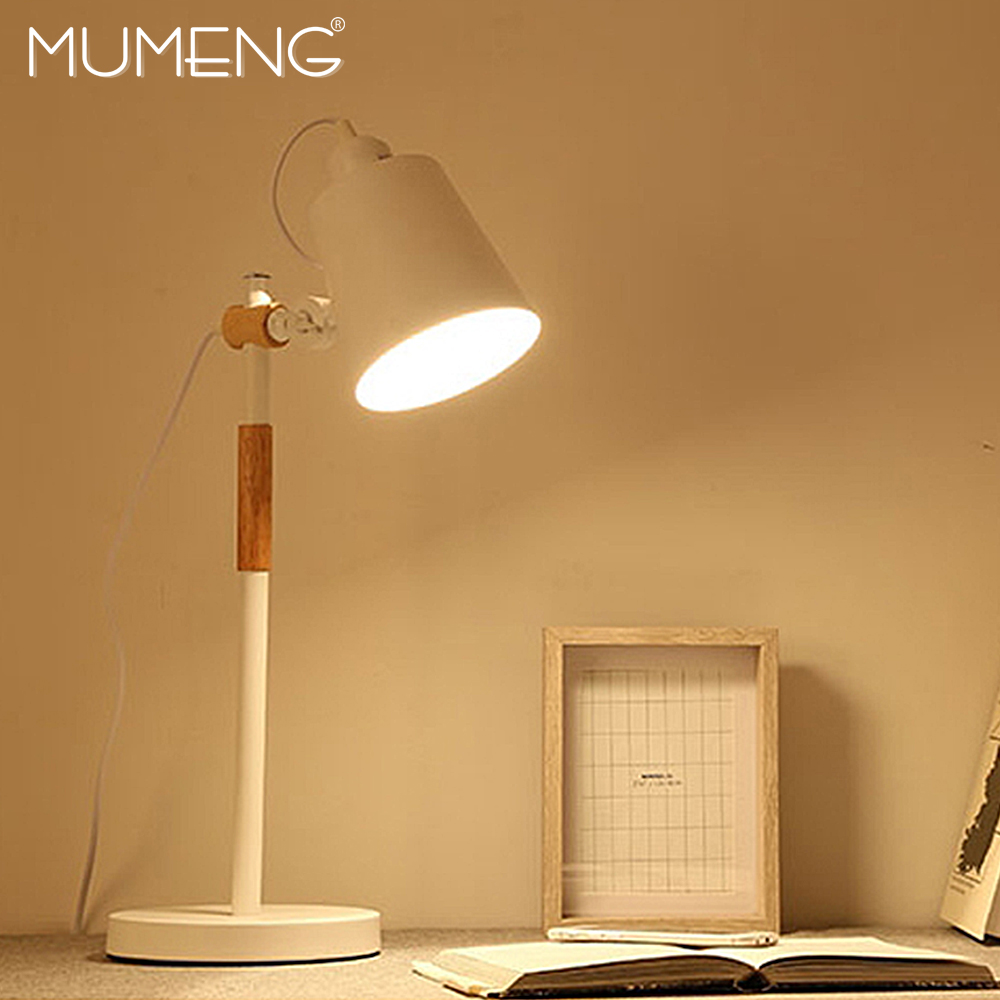 MUMENG Table Lamp 220V E27 Aluminum Desk Lamp Eye protect students reading Rotating Wood table light EUR Plug Mode for Indoor