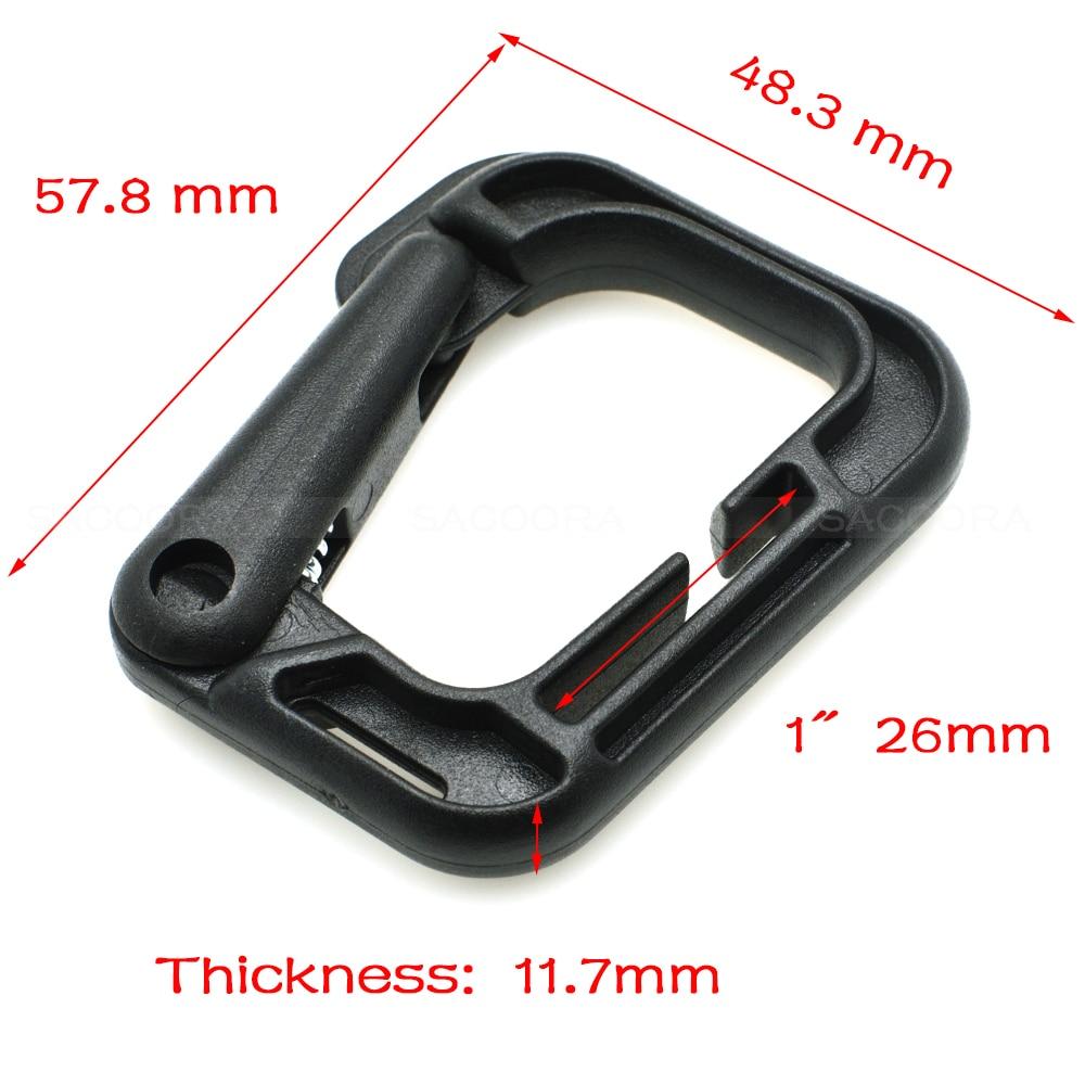 100 pcs/lot plastique multi-usage Grimloc d-ring mousqueton boucle de sécurité pour sac à dos fermoir porte-clés sac livraison gratuite