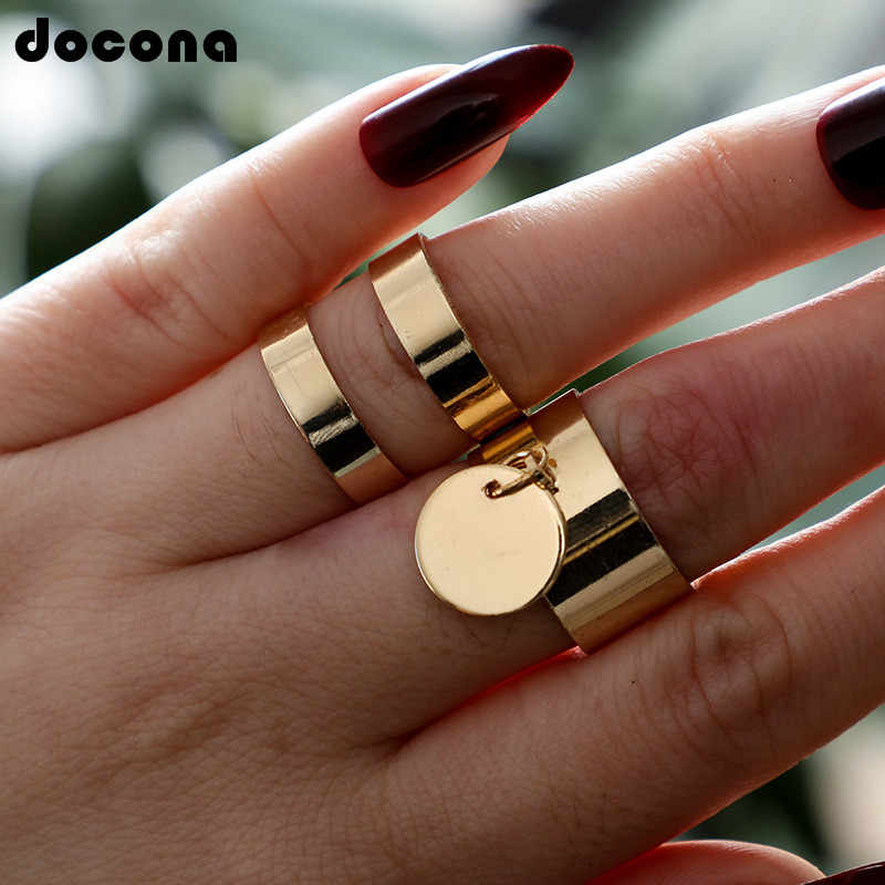 Docona Bohemian Gold Rings Geometric Big Roung Ring Alloy Punk Adjustable Open Rings Knuckle Midi Anillos Ring Jewelry 6901