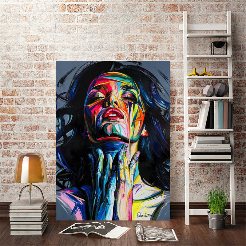 Modern Portrait Posters and Prints Wall Art Canvas Painting Abstract Colorful Women Pictures for Living Room Home Decor No Frame