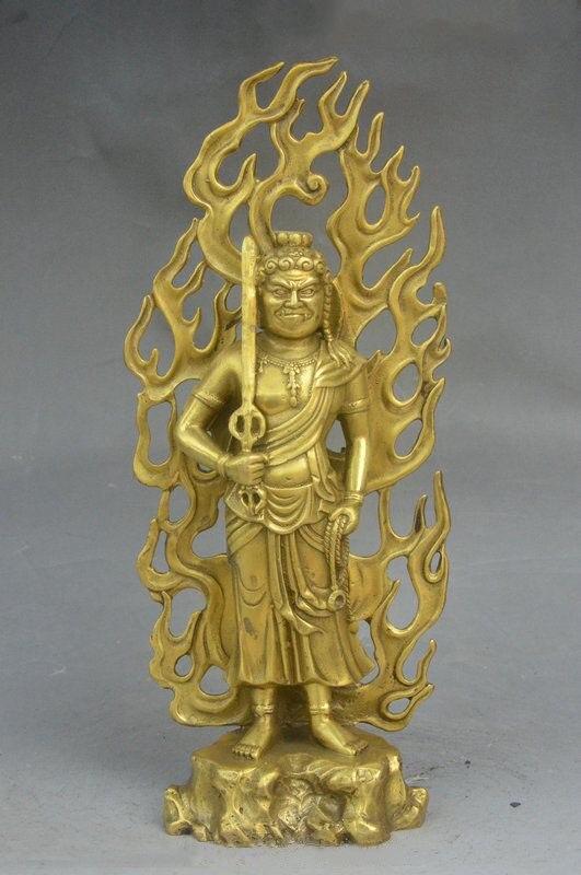 11 Le Bouddhisme Tibétain En Laiton Sculpture Japon Fudo Myo-o/Acalanatha Bouddha Statue