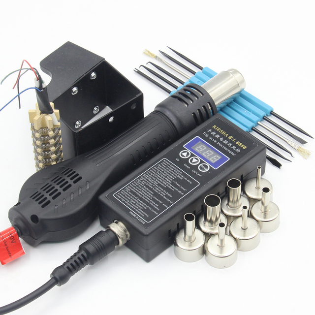 1Kg RIESBA 8858 Portable BGA Rework Solder Station Hot Air Blower Heat Gun 858 Nozzle Soldering Stations tweezers