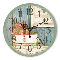 New Vintage Large Home Decorative Wall Clock Kitchen Wall Clock Modern Design Rose Flower Birds Clock Watch Christmas Gift