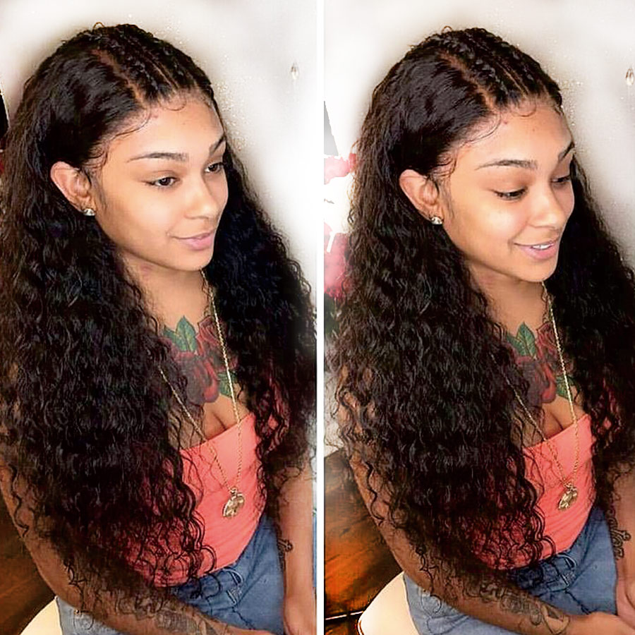 RXY Lace Front Human Hair Wigs Pre Plucked with Baby Hair Brazilian Deep Wave Lace front