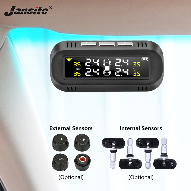 Jansite TPMS Car Tire Pressure Alarm Monitor System Solar Power Charging Display Intelligent Temperature Warning With 4 Sensors