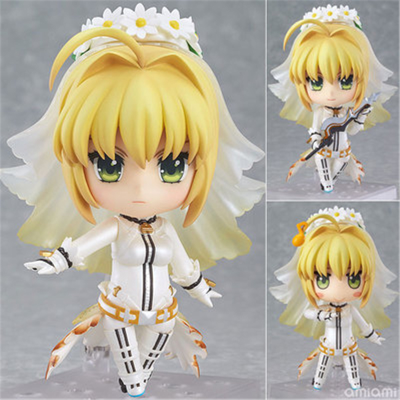 Anime Fate Stay Night Saber Nendoroid  Lily #387 PVC Action Figure EXTRA CCC Juguetes Collectible Model Toy Doll 4 10cm classic anime fate stay night fate extra ver red saber pvc action figure collection model toy 26cm high quality men toys