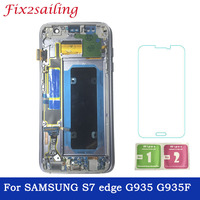 For SAMSUNG Galaxy s7 edge G935 G935F LCD Display Digitizer Touch Screen With Frame SUPER AMOLED LCD Display Free Shipping