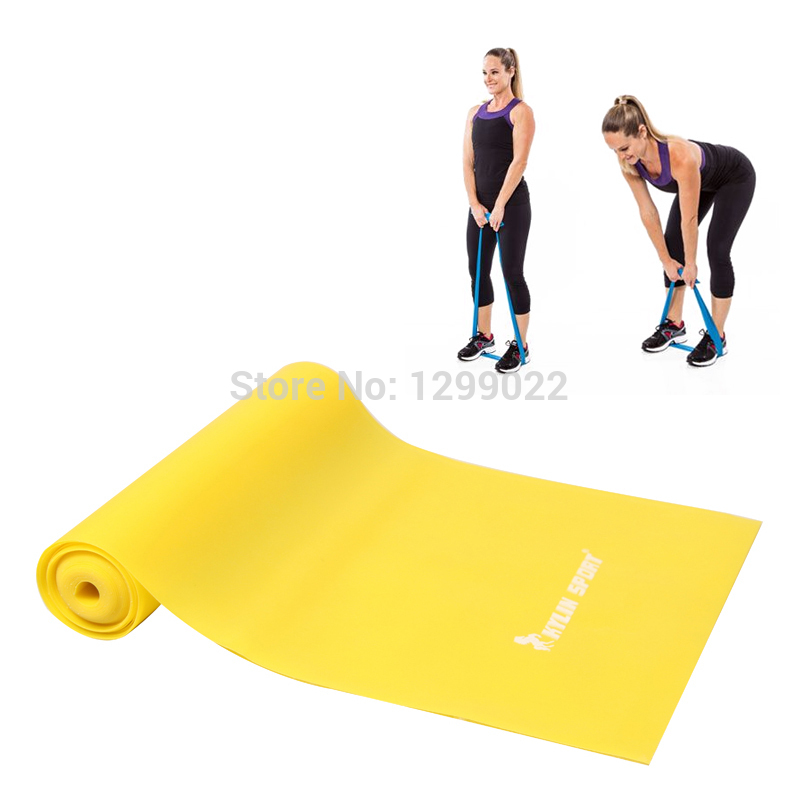 Yellow TPR Stretch resistance Band by Yoga Pilates Resistance Band Power Training for wholesale