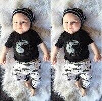 2017 New Summer Baby Suit Cotton Fashion Silver Print T-Shirt + Pants 2 pcs Baby Clothing Newborn Baby Suit Set