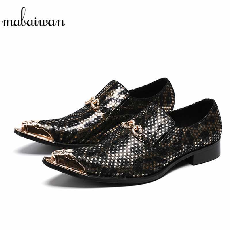 Mabaiwan New Casual Men Shoes Luxury Formal Metal Toe Party Wedding Dress Shoes Men Gold Chain Loafers Business Polka Dot Flats недорго, оригинальная цена