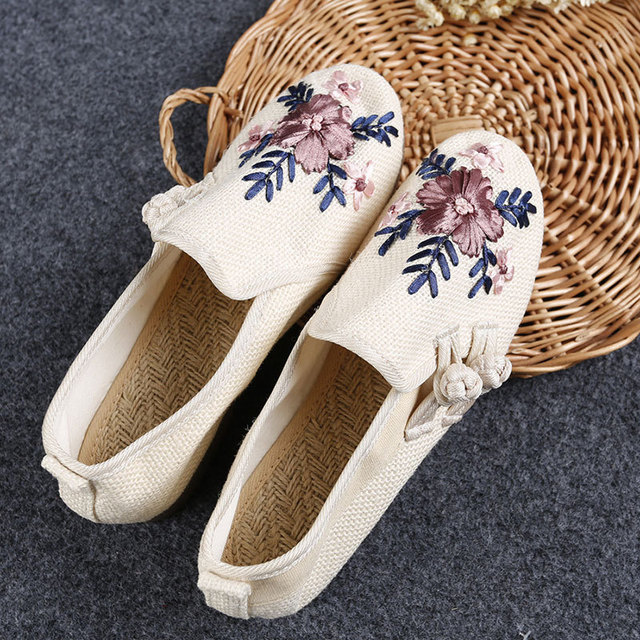 New Embroidery Shoes National Han Dynasty Chinese Ethnic Floral Canvas Line Women  Flats fc481243dfe2