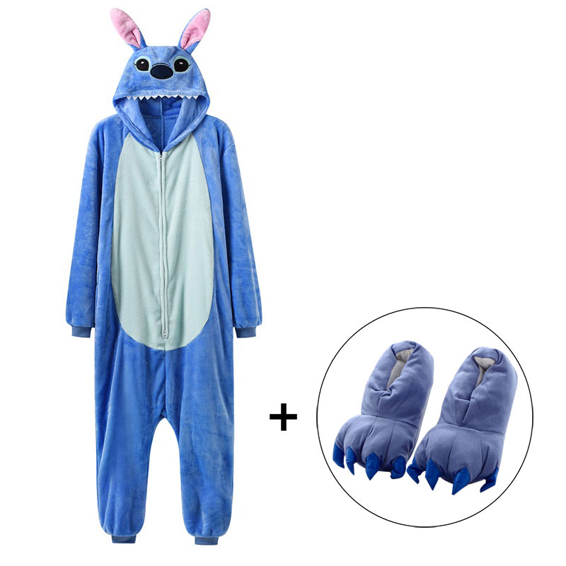 Zipper Onesie Stitch Kigurumis Women Girl Unisex Animal Pajama Winter Warm Sleep Suit Couple Overall Soft Flannel Cute Stich