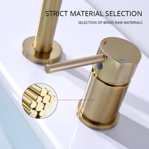 Image 4 - Dual Holes Singe Handle Design Faucet Kitchen Sink Faucet Matt Burnish Gold Brass Double Hole Pull Out Deck Mount Mixer Tap