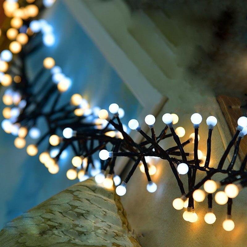 3 متر 400 أضواء الوردي الأبيض الأرجواني الأزرق 2 ألوان الألعاب النارية سلسلة أضواء كرات حليبية LED الجنية أضواء زينة عيد الميلاد