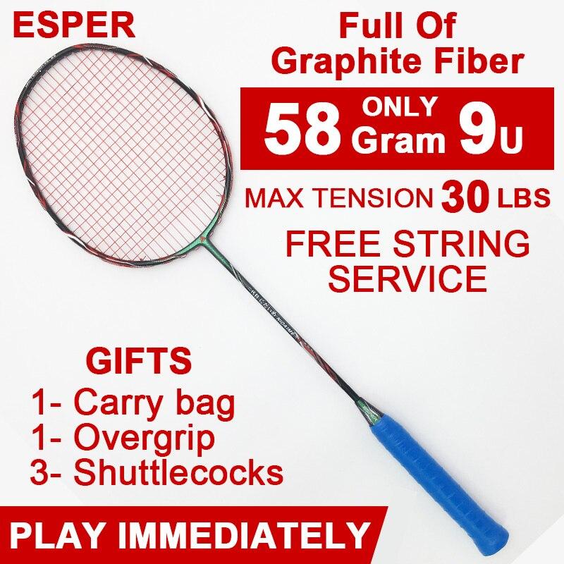 Badminton Trendmarkierung Esper 58 Gramm Badminton Schläger Graphit Faser Hohe Qualität Schläger Leichte 9u Carbon Faser Schläger Mit String Und Geschenke Gesundheit FöRdern Und Krankheiten Heilen
