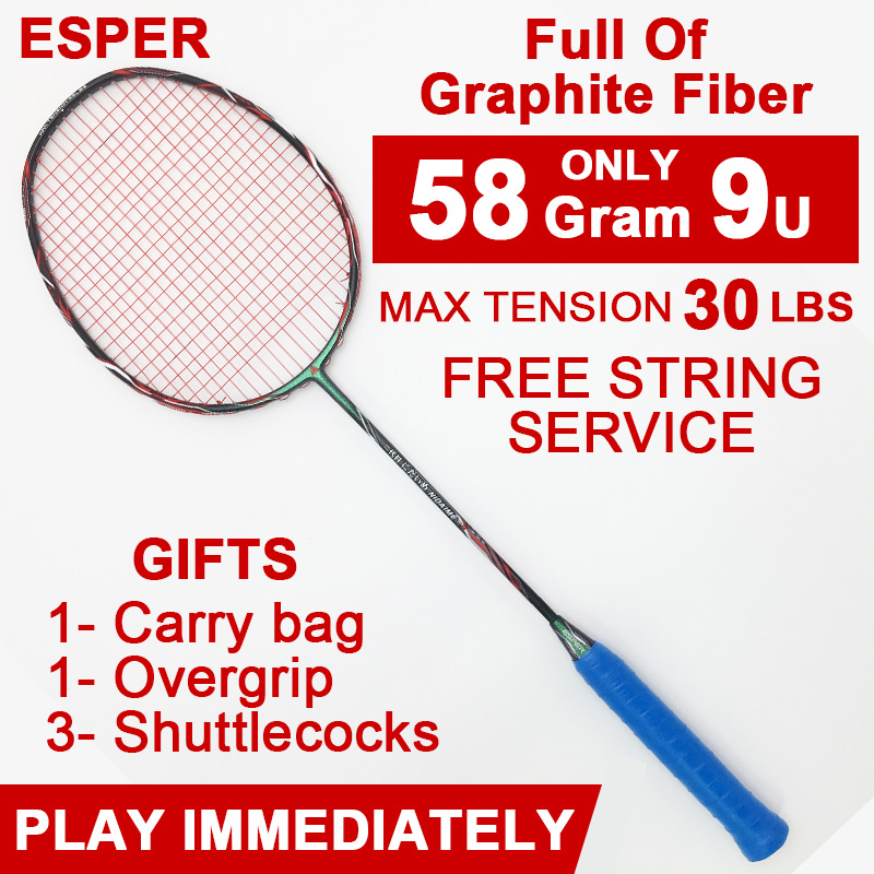 ESPER 58gram Badminton Racket Graphite Fiber High Quality Racquet Lightweight 9U Carbon Fiber Racket With String And Gifts