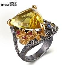 دريم كرنفال 1989 شيك مجوهرات الأزياء الدائري الكبير الذهب اللون مثلث الزركون زهور حمراء خواتم الزفاف هبوط السفينة الساخن بيك WA11658