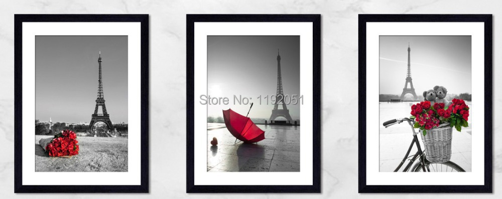 canvas paintings eiffel red rose and umbrella black and white pictures 3 panels home decoration. Black Bedroom Furniture Sets. Home Design Ideas