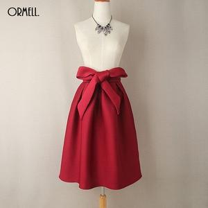 Image 5 - ORMELL Elegant Vintage Women Skirt High Waist Pleated Long Midi Skirt A Line Big Bow Red Black Green Side Zipper Skater Skirts