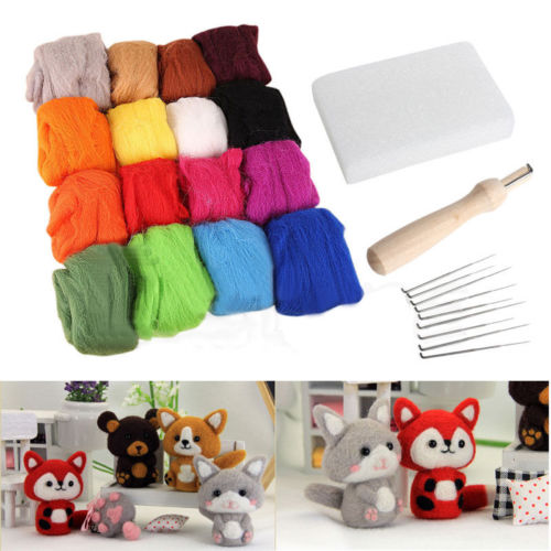 16 Colors Wool Felt + 9 Needles Felt Tool Set Needle Felting Mat Starter Kit DIY Tool Kit Gifts