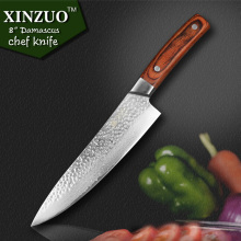 "XINZUO 8 "" chef knife 67 layer Japanese Damascus steel kitchen knife senior meat/vegetable knife Color wood handle free shipping"