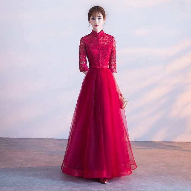 New Lace Red Qipao Long Cheongsams Chinese Bride Wedding Dress Women  Traditional Oriental Collars Evening Dresses e154ac4a10e9
