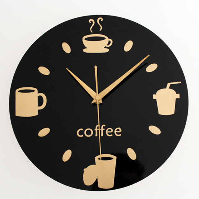 Kitchen Restaurant Leisure Fashion Design Wall Clock Black Round Coffee Cup Bean Tableware Creative Design Wall Clock