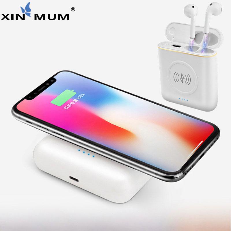 XIN MUM 5200 mah Wireless Accumulatori e caricabatterie di riserva TWS 3 in 1 Stereo Bluetooth Cuffia del Trasduttore Auricolare di Ricarica Scatola Caricatore Del Telefono Batteria