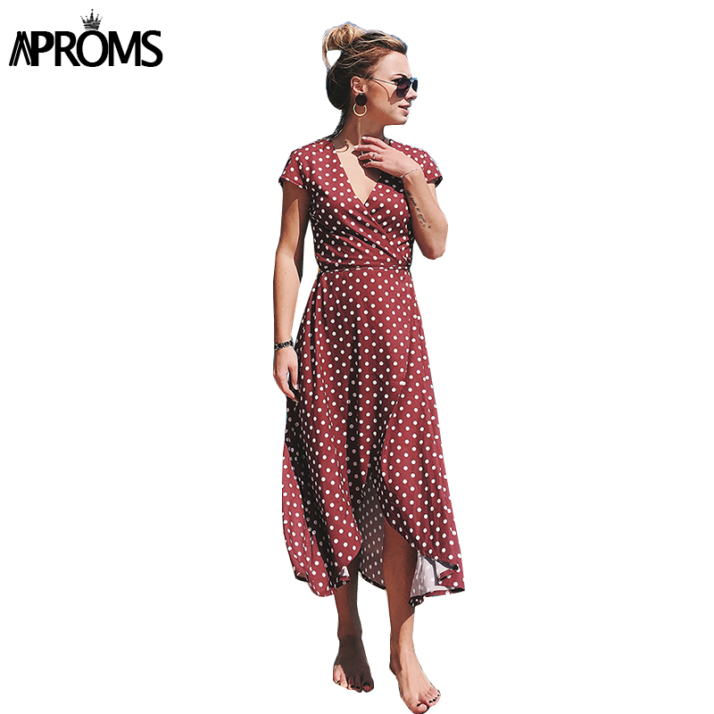 dc4709aed4f Aproms Chic Col V Polka Dot Sexy Femmes Midi Robe À Manches Courtes Lâche  Robe Taille