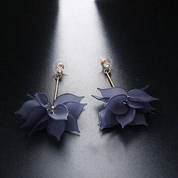 Women Colorful Elegant Crystal Flower Earrings 3