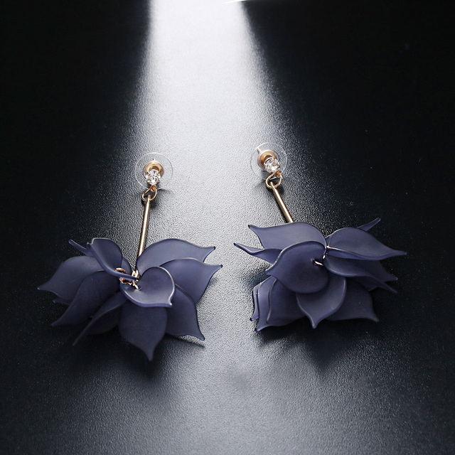 Women Colorful Elegant Crystal Flower Earrings 3