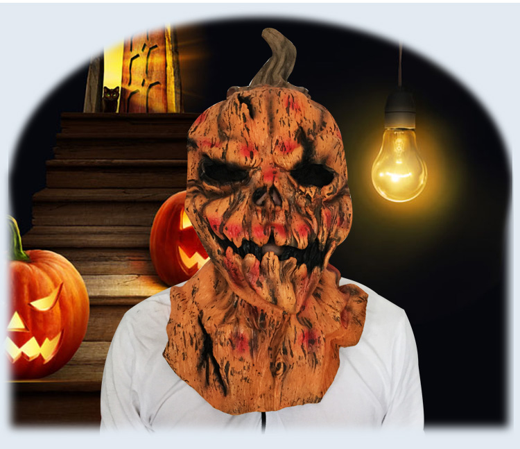eco friendly latex adult size full head pumpkin halloween mask scary skulls masquerade mask for