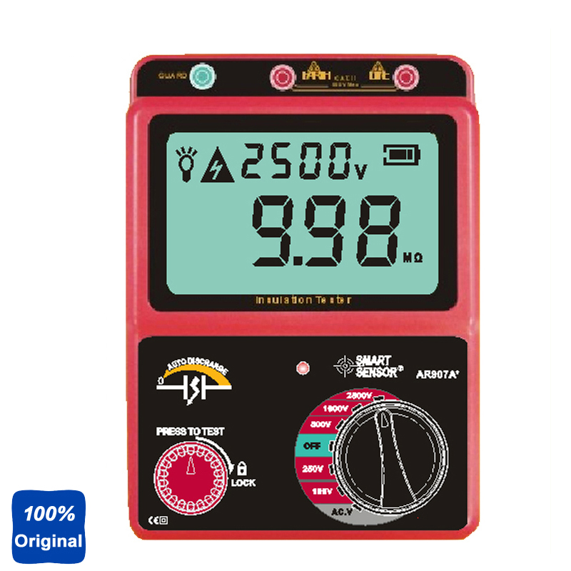 100% Original AR907A 100-2500V Digital Insulation Meter Tester Megger MegOhm AC / DC Voltage Tester as907a digital insulation tester megger with voltage range 500v 1000v 2500v