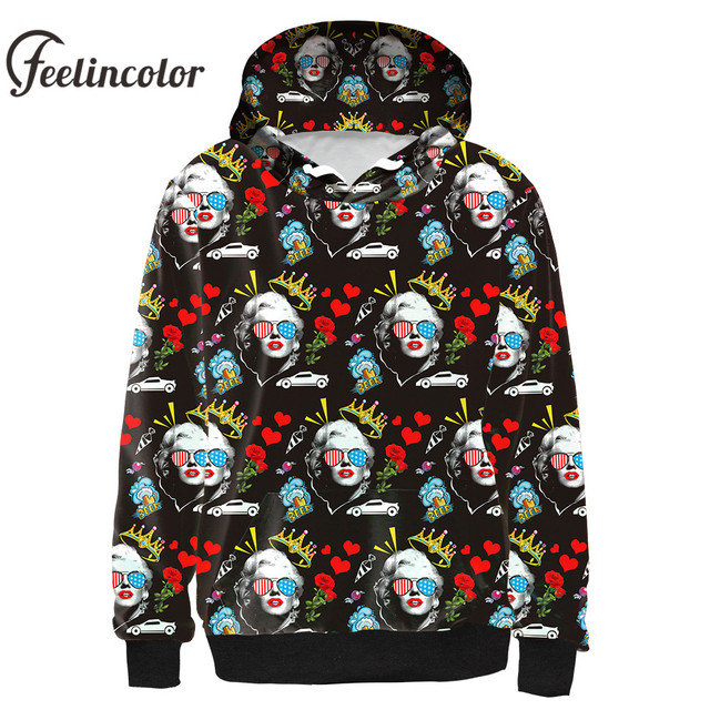 318461d306e2 Feelincolor New Arrival 3d Hoodies Marilyn Monroe Sweatshirt Men Women  Autumn Winter Hooded Streetwear Clothes Hoodie