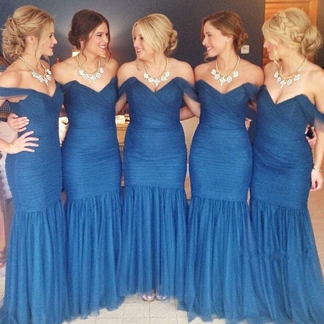 Y Mermaid Bridesmaid Gown Navy Blue Peach Ivory Champagne Silver Yellow