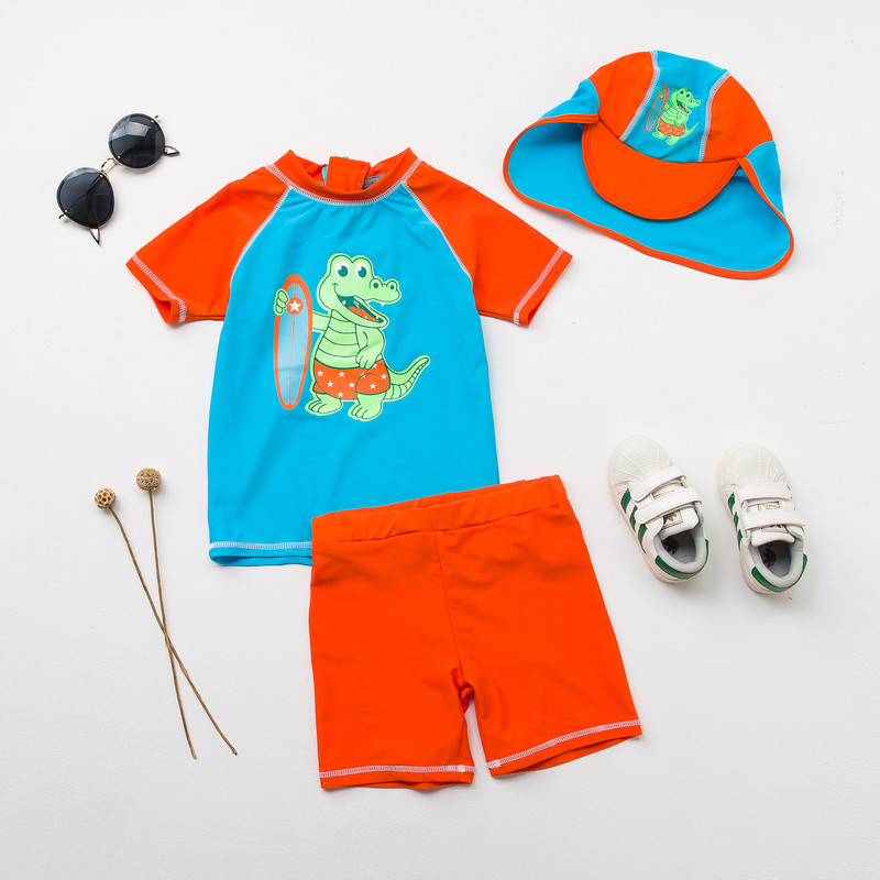 Sunblock Two Pieces Swimsuits for Boys Crocodile Print Short Sleeved Separates Rash Guards Kids Pool Bathing Suits Boy Swimwear
