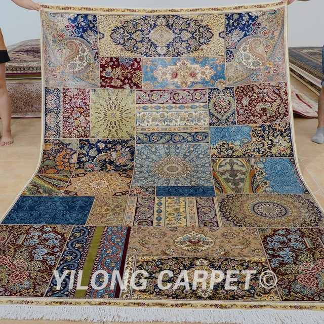 Yilong 6 X9 Vantage Hand Knotted Living Room Patchwork Carpet Traditional Persian Rug