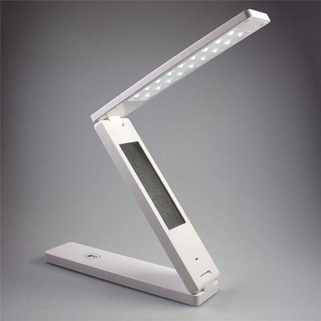 Dimmable LED Lámpara de Escritorio Protección para Los Ojos Lámpara de Mesa Led Recargable Portátil LLEVÓ la lámpara de lectura Con El Calendario Reloj Despertador