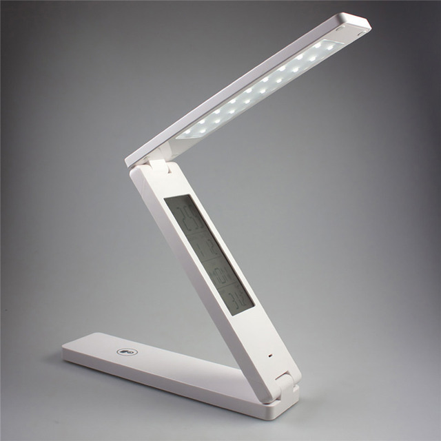 Dimmable LED Table Lamp Led Rechargeable Desk Lamp Eye Protection Portable LED reading lamp With Calendar Alarm Clock