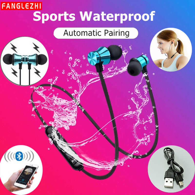 Wireless Sport Earphone Bluetooth Magnetic Earphones Stereo Waterproof Earbuds Wireless in-ear Headset with Mic for Android IOS