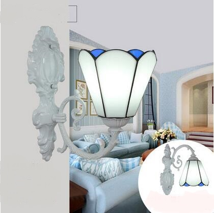 Tiffany lamp wall lamp Mediterranean minimalist style bedroom study mirror lamp bedside wall lamp single restaurant m tiffany lamp bedroom wall lamp corridor lamp mirror bathroom light mediterranean style iron lamp