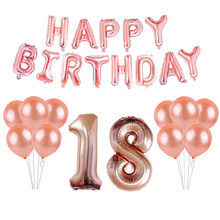 18th 25th 30th 35th 40th 50th 60th 70th 80th 90th Rose Gold Balloon Kit Happy Birthday Letters Balloons Party Decorations Adults