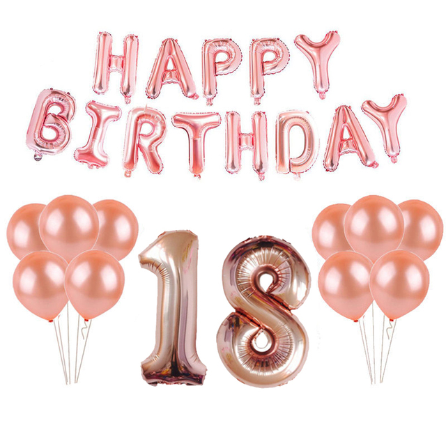 18th 25th 30th 35th 40th 50th 60th 70th 80th 90th Rose Gold Balloon Kit Happy Birthday