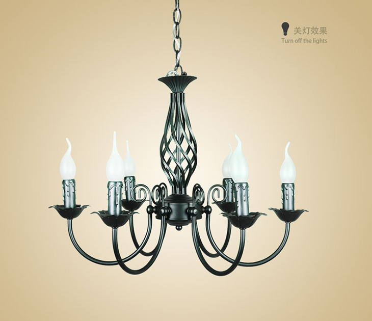 Lights Vintage Wrought Iron Chandelier