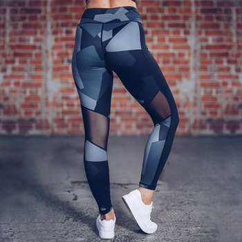 Womens Printed Mesh Yoga Pant Tights Running Leggings Sports Pants Fashion Female Slim Workout Pants Yoga Fitness Sport Pants