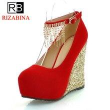 Купить с кэшбэком CooLcept free shipping high heel wedge shoes women sexy dress footwear fashion lady female pumps P11976 hot sale EUR size 34-39