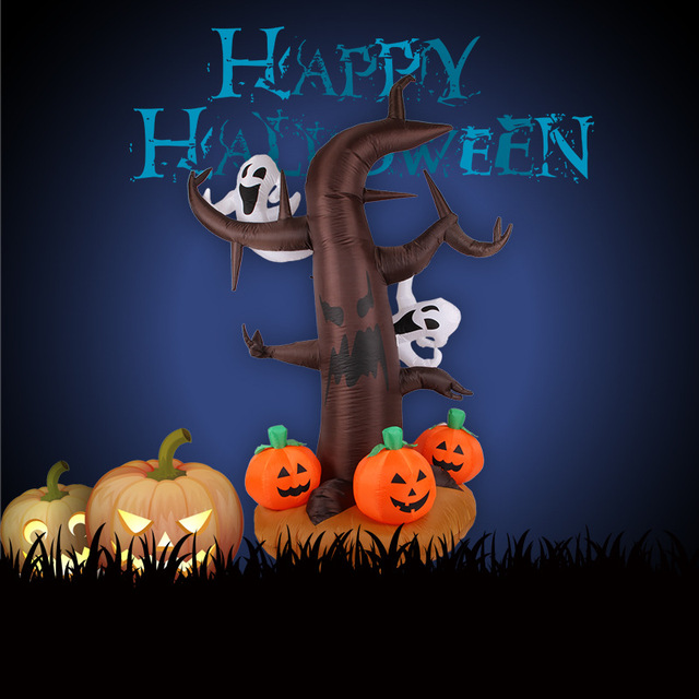 24m halloween yard decoration outdoor lighting inflatable spooky tree with pumpkin and kind of ghost