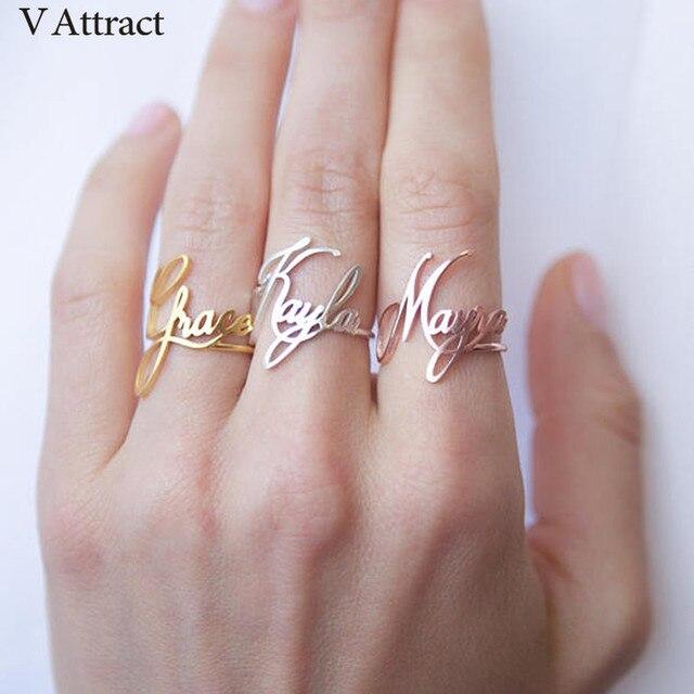 Impilabile Anello Nome Personalizzato Personalizzato Bijoux Femme della Damigella D'onore del Regalo In Acciaio Inox Jewerly Regolabile Bague Anelli di Cerimonia Nuziale Delle Donne