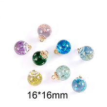 10pcs 16*16mm Jewelry Crystal Glass Dried Real Flowers Ball Charms Earring Necklace Pendant Girl Gift Accessory YZ419